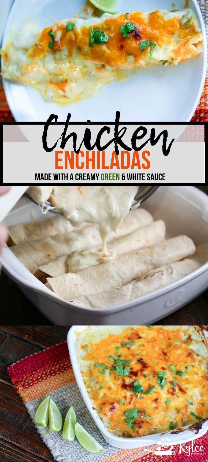 Chicken Enchiladas A Very Easy Recipe Made With A Creamy Homemade Green Whi Easy Chicken Recipes Chicken Enchilada Recipe Chicken Enchiladas Easy
