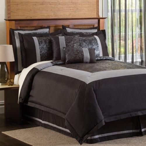 Lush Decor Croc 8-Piece Comforter Set, King, Black/Silver $99.09