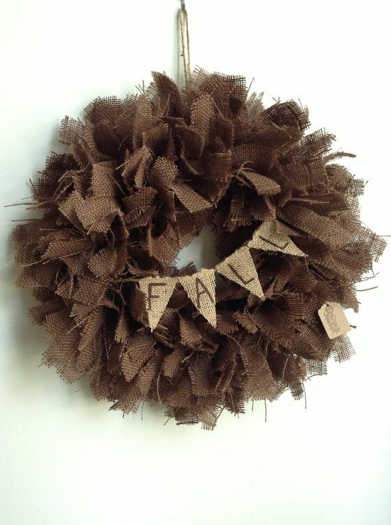 Burlap Fall Wreath Brown Wreath Rustic Wreath by JBJunkMarket, $45.00