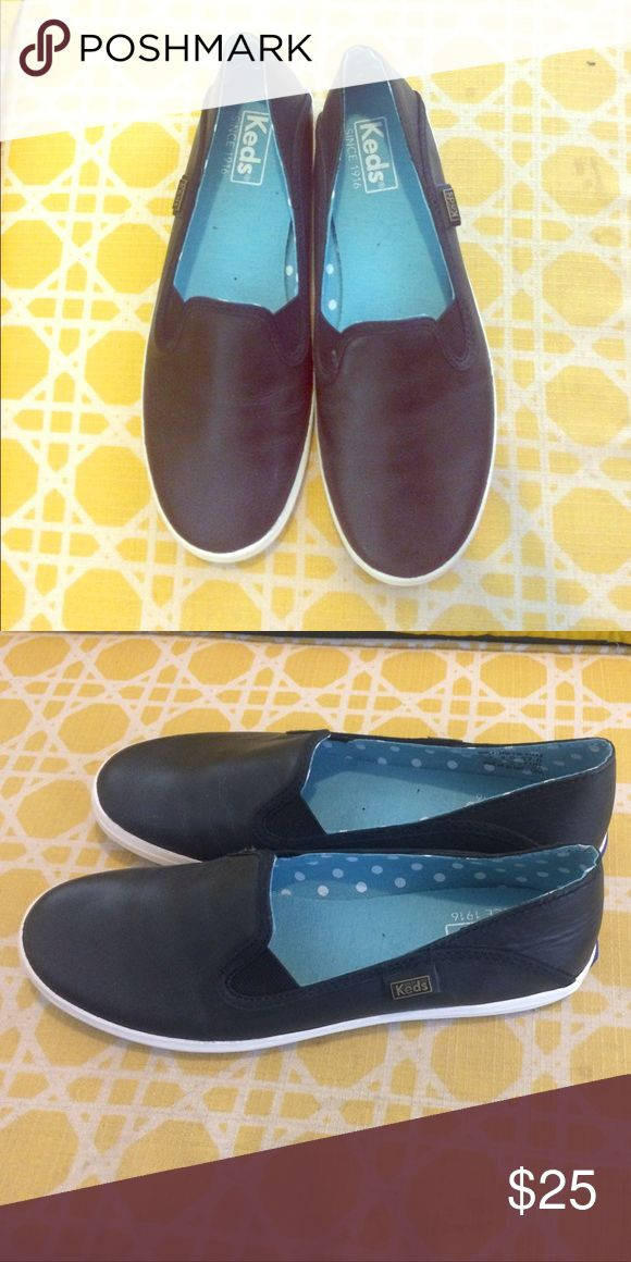 Black leather Keds, slip one, size 7 Never been worn, black leather slips ons Keds Shoes Flats & Loafers