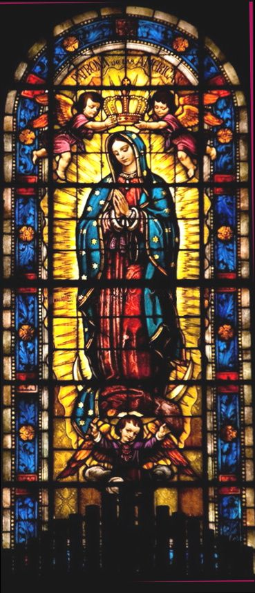 Virgin of Guadalupe stained glass window (location unknown)
