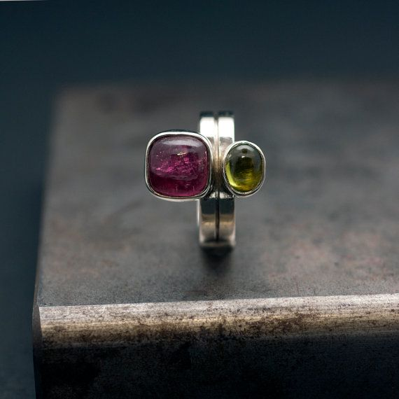 Pink Tourmaline & Peridot  Ring Sterling Silver by SunSanJewelry
