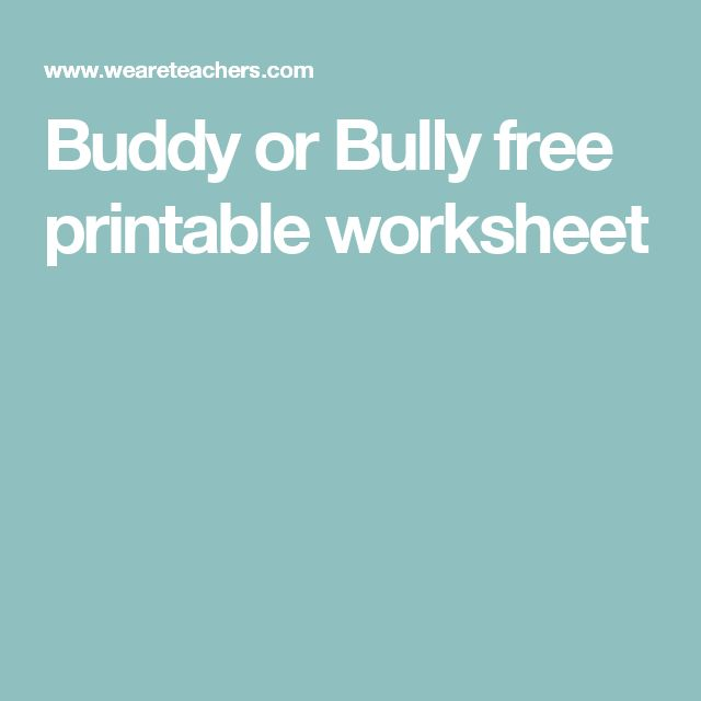 Buddy or Bully free printable worksheet