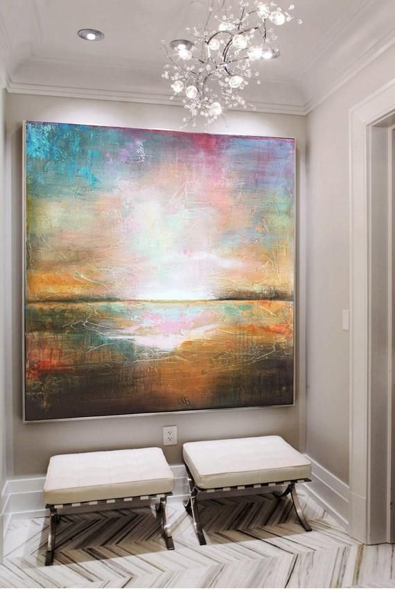 Large Wall Art Abstract Colorful Wall Art Orange Painting Sunset