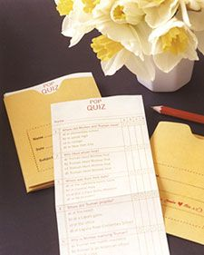 """multiple choice quizzes with trivia about bride/groom. Guests drop in drop box before they leave and the quizzes are """"scored"""" and returned with thank-you"""