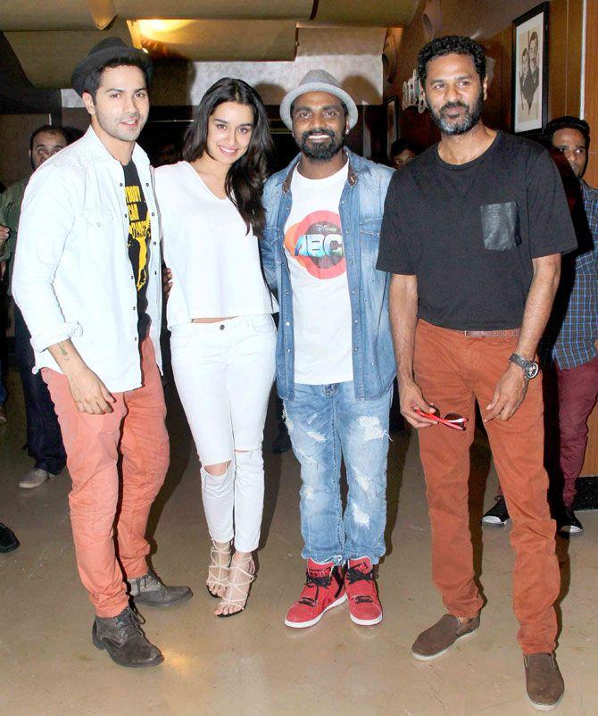 Varun Dhawan, Shraddha Kapoor, Remo D'Souza and Prabhu Deva at screening of ABCD 2. #Bollywood #Fashion #Style #Beauty #Handsome #ABCD2