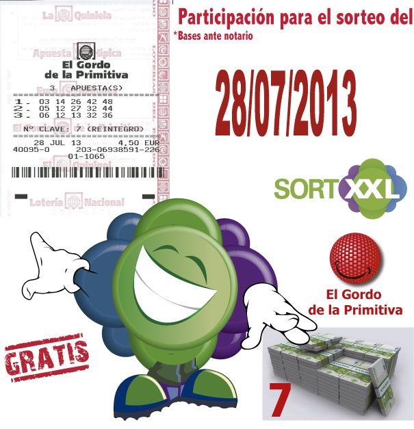 Alguien mas te ofrece el hacerte millonario gratis?  PARTICIPA CON NOSOTROS....en el sorteo del Gordo de la Primitiva del 28/07/2013.!!  Cumple los 3 PASOS:  1-HAZTE FAN DE SORTXXL EN FACEBOOK 2-COMENTA LA IMAGEN 3-COMPARTE LA IMAGEN EN TU MURO  -http://www.sortxxl.es/  * bases de la promoción: http://www.facebook.com/Sortxxl/notes