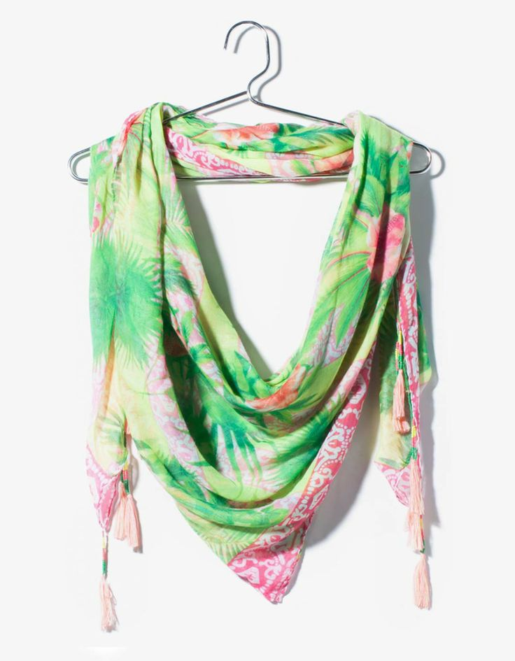 Tropical print neck scarf with border detail