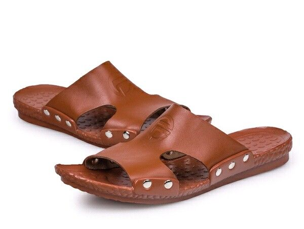 Brown Italian Genuine Pu Leather Flip-flops Beach Sandals Men Summer Slipper Slide Roman Shoes Strap Chic