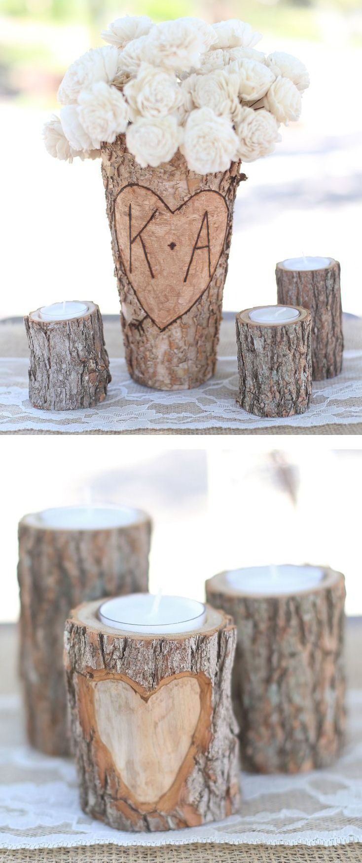 Birch bark candles vase great wedding centerpiece
