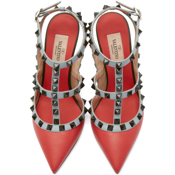 Valentino Multicolor Rockstud Cage Heels