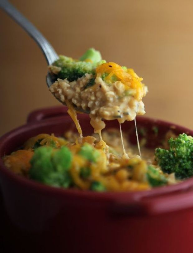 Savory Oatmeal Broccoli Cheese & Chicken... YES IN OATMEAL!!! Delicious!!