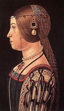 This showcases the Italian Renaissance Ferroniere, which was the head dress that women wore during this period. Italian women arranged their hair in a very elaborate way , with their head covered with a beaded like veil
