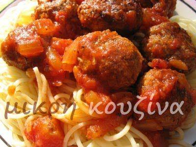 μικρή κουζίνα: Μακαρονάδα με κεφτεδάκια ψητά σε σάλτσα ντομάτας
