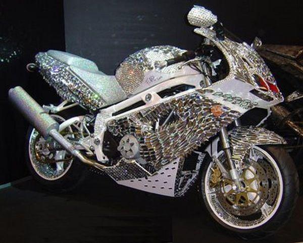 Sunglasses alert! Major bling. Billionaire Saudi prince's handmade diamond Ducati motorcycle. Sticker price $4,800,000