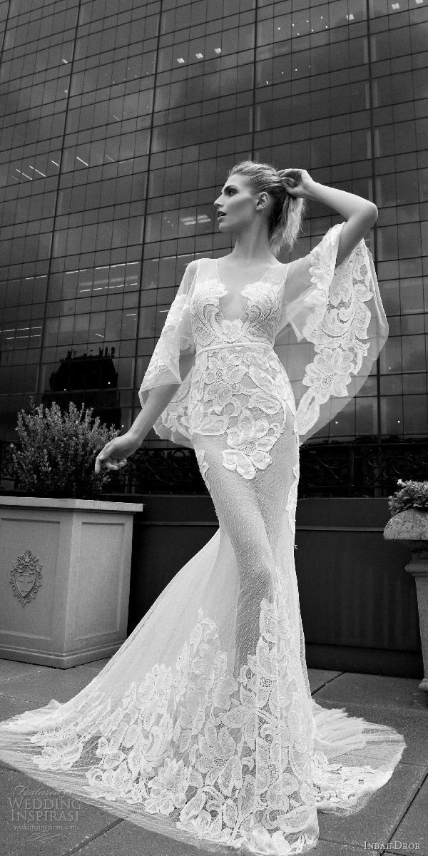 inbal dror 2016 wedding dress with v neck flutter sleeve trumpet sheath lace wedding dress sheer skirt style 12 mv
