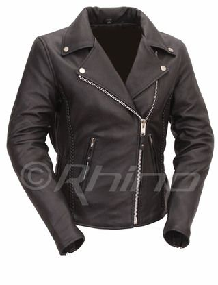 Womens Leather Braided Classic Biker Jacket
