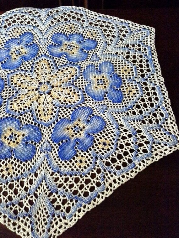 Cream crochet doily Hand-painted crochet lace Crochet by OlLace