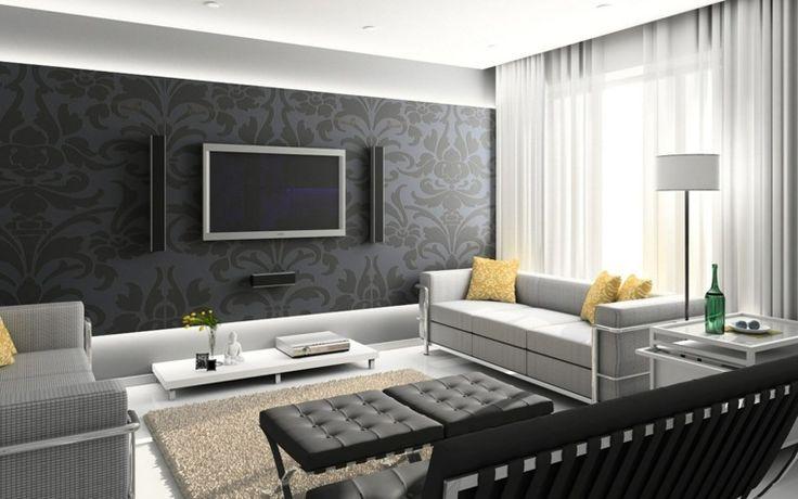 Décoration minimaliste Salon noir et blanc avec éléments gris et tapis de sol beige