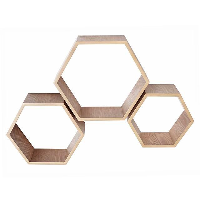 Amalfi Hexagon Timber Shelves (Set of 6)