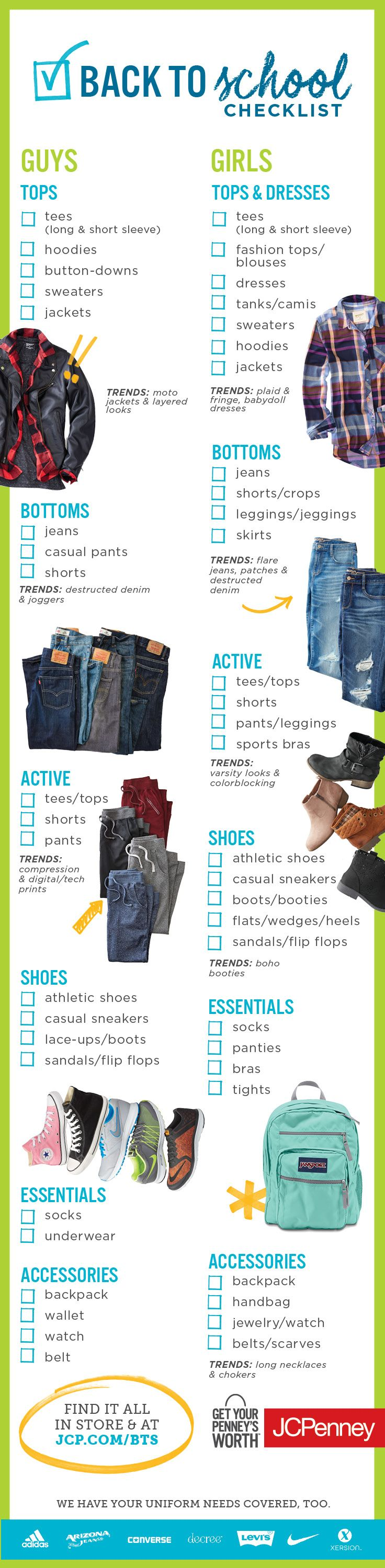 Find everything you need for Back-to-School  at JCPenney! We're talking jeans, shoes, backpacks, belts, shorts, uniforms and so much more that is so you and so worth it. Click the image so shop the list!