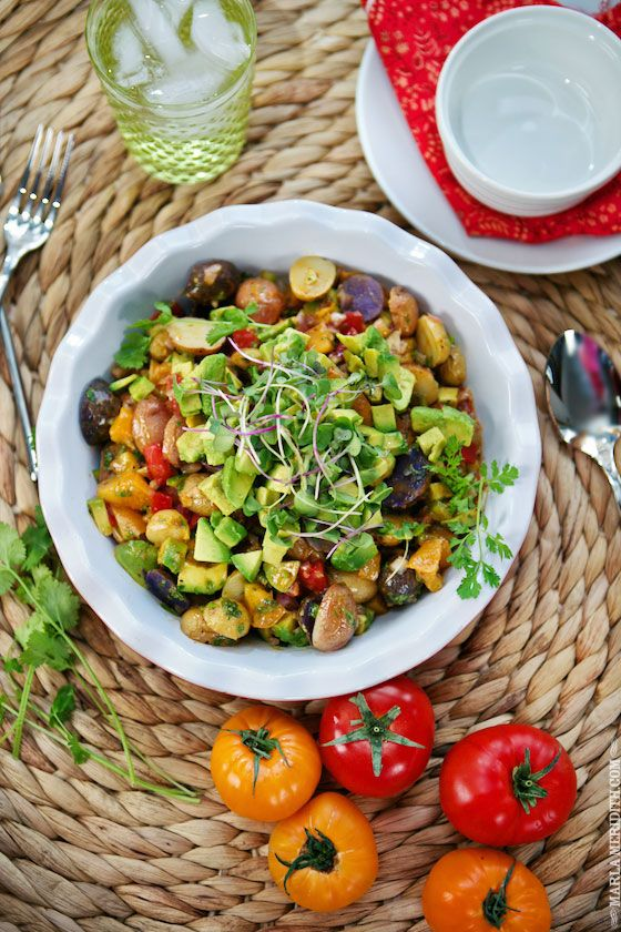 Avocado Pico de Gallo Potato Salad | FamilyFreshCooking.com: Potatoes Salad, Potato Salad, Dressings Salad, Recipes Sides Salads