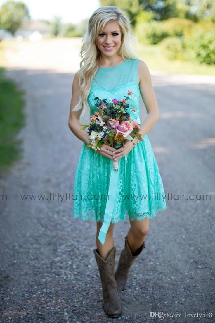 Turquoise Filly Flair Bridesmaids Dresses Country Jewel Backless Ribbon Lace Short Bridesmaid Formal Dress Wedding Party Gowns Plus Size