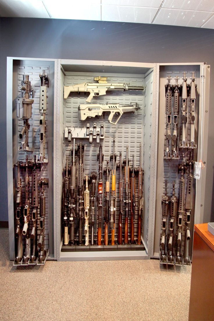 Versatile firearm storage - vertical and horizontal gun racks. #gunsafe #gunstorage
