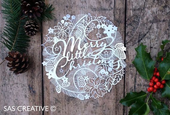 Christmas Papercut Template 'Merry Little Christmas' PDF Printable Papercutting Template by Samantha's Papercuts