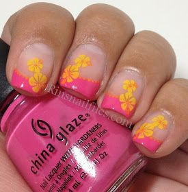 Stamping nail art.  Tropical flower,  hibiscus,  Hawaiian French tips.   China Glaze Rich & Famous on the tips, then stamped with Mash-43 using Konad yellow, then I used a dotting tool and orange acrylic paint to accent the design.