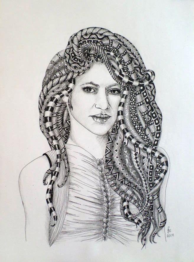 Shakira in Zentangle stile made of Erika Székesvári, more pictures https://www.facebook.com/ercziart/