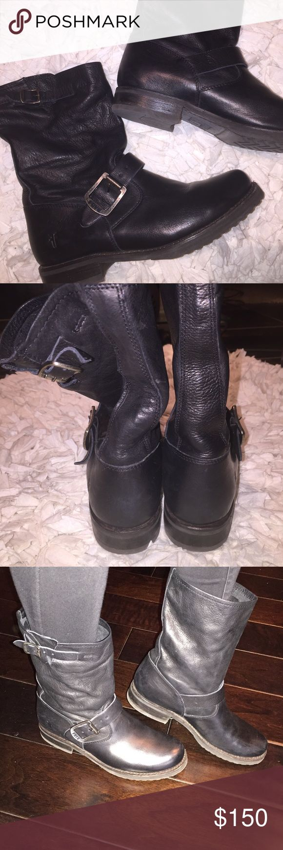 Frye moto boots sz6 Frye leather black moto style booties. Worn only twice. Sz6 Frye Shoes Ankle Boots & Booties