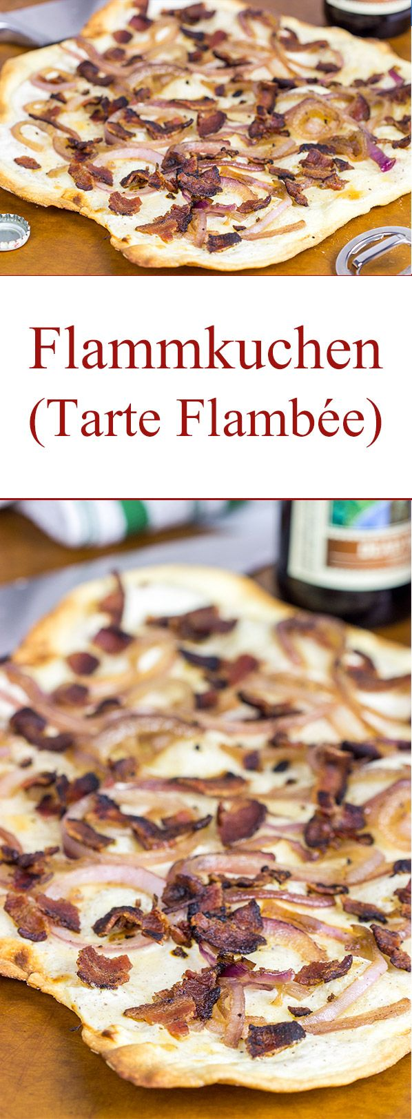 "Flammkuchen, or tarte flambée in French, is a German-style thin-crust ""pizza"" topped with bacon and onions...and it's delicious!"