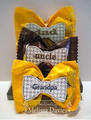 Bow-tie Treats for Father's Day - take a bag of M Candy, pinch in the middle and secure with a rubber-band and add a cute bow-tie label.