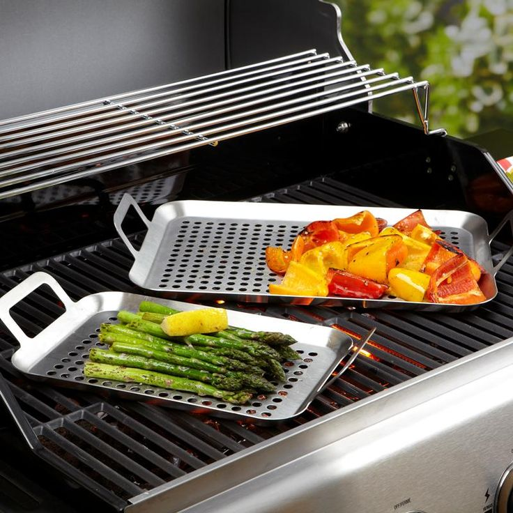 Grill veggies, fish and anything else that might slip through the bbq grill with a set of Epicure BBQ Grill Pans. Stainless steel won't be damaged by bbq flames.