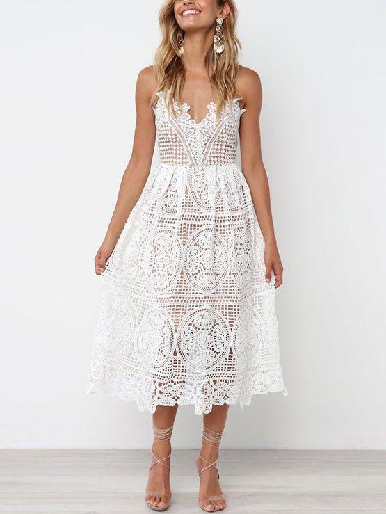 1f7eece0521 White Summer Lace Dresses V-neck Midi Slip Bohemian Dress - WSDear ...