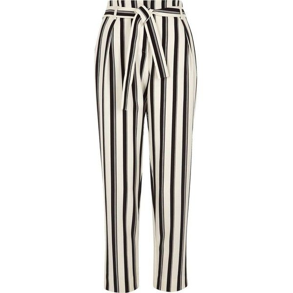 River Island Black stripe tie waist tapered pants ($76) ❤ liked on Polyvore featuring pants, black, tapered pants, women, tapered trousers, striped trousers, taper cut pants, tall pants and stripe pants
