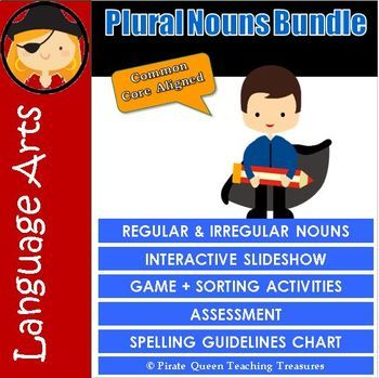 This comprehensive bundle contains quality products to teach your students the guidelines for making plural nouns. There are two slideshows. Both have the same grammar content and animation. However, one contains the Super Hero clipart and is a read-only document in order