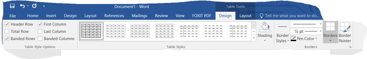 Screenshot of Table Tools with the Design Tab in the Uppermost Position in Word 2016 (Windows 10).  Taken on 25 December 2016.