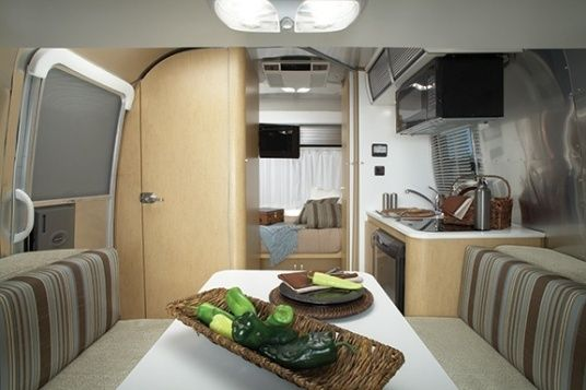~$46k - includes bedspread & pillows... Be nice to purchase the (assumedly!) Super-efficient SHELL & build one's own... good floorplan tho... 2015 Airstream Sport 16 Travel Trailer Interior
