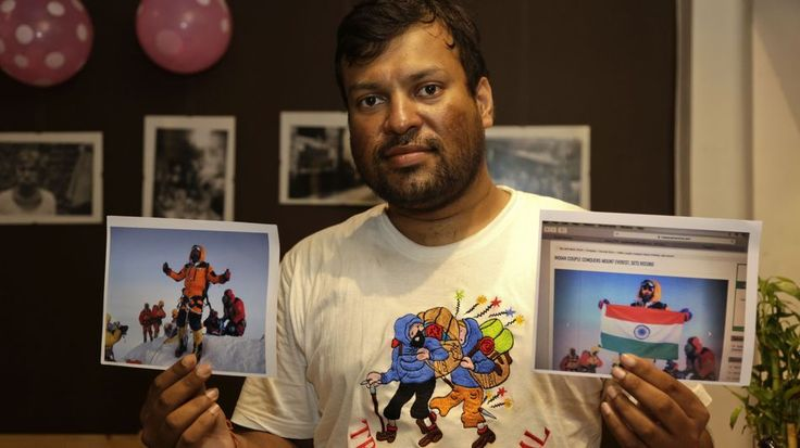 Nepal says an Indian couple faked Mt. Everest summit conquest picturesIndian climber Satyarup Sidhantha holds on his right hand a photograph that shows him on Mount Everest along with what he says is an altered version of the same used by an Indian couple to make it appear they were on the summit.  Image: AP Photo/ Bikas Das  By Sonam JoshiIndia2016-07-06 13:29:49 UTC  In June Dinesh and Tarkeshwari Rathod made headlines as Indias first couple to scale Mount Everest.Now Nepalese authorities…