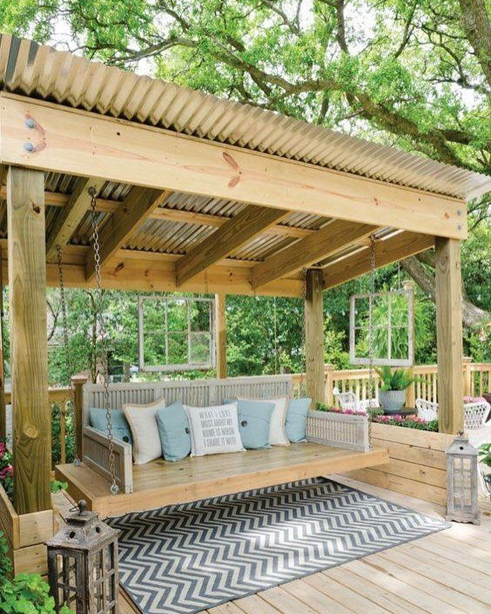 As A Deck Cover Without The Swing Bench Backyard Backyard Seating Backyard Patio