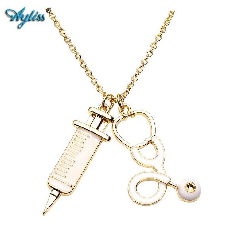 Nurse Stethoscope & Syringe Pendant Necklace