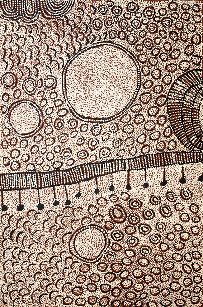Yinarupa Nangala - Wilkinkarra (ancestral travel stories) http://www.aboriginalsignature.com/art-aborigene-papunya-tula/yinarupa-nangala-wilkinkarra-ancestral-travel-stories