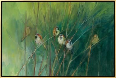 Summer Sparrows Framed Canvas Print by Ellen Granter at Art.com