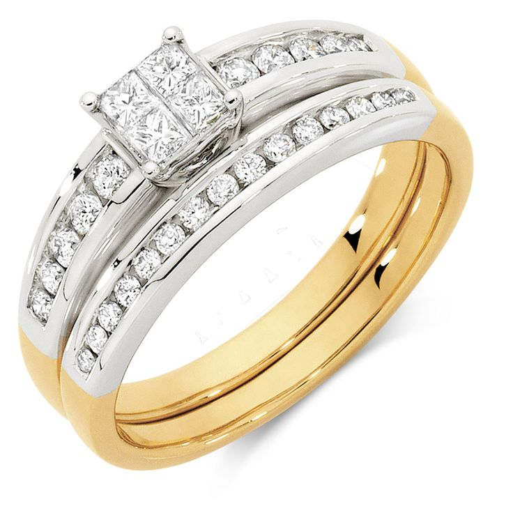 Check out this gorgeous 10ct yellow and white gold bridal set featuring 1/2 carat of diamonds will really stand out on that special day.