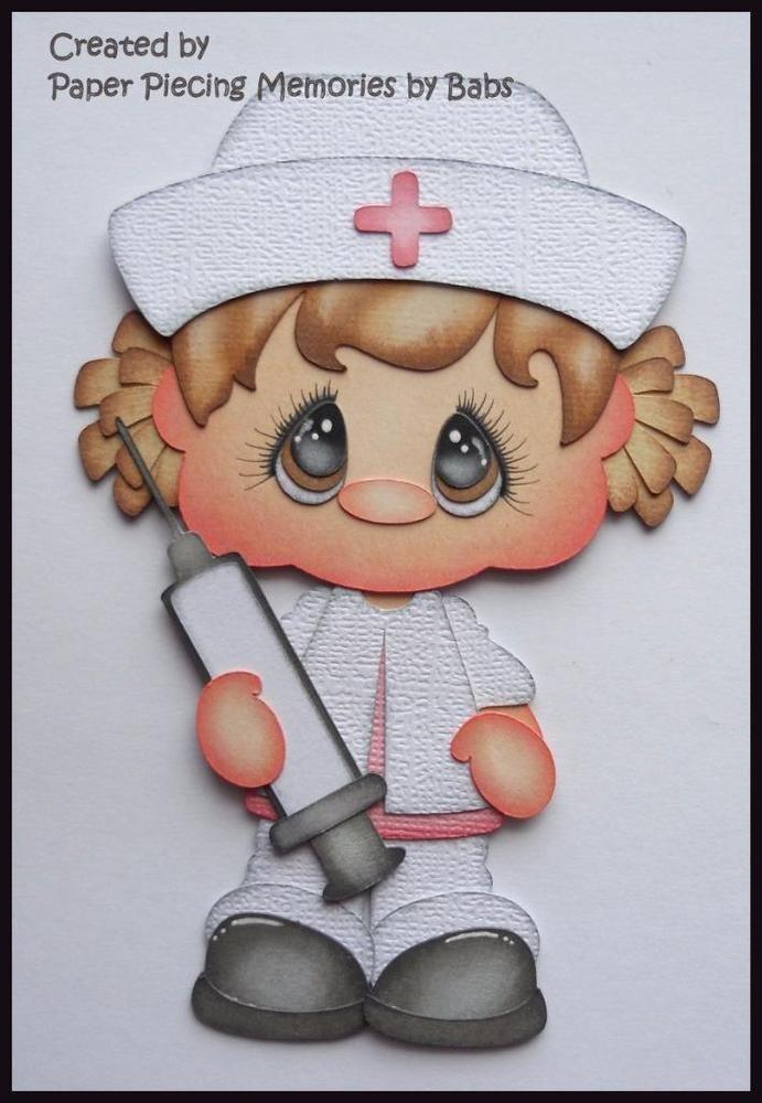 Nurse Brown Hair Premade Paper Piecing Die Cut for Scrapbook Page byBabs