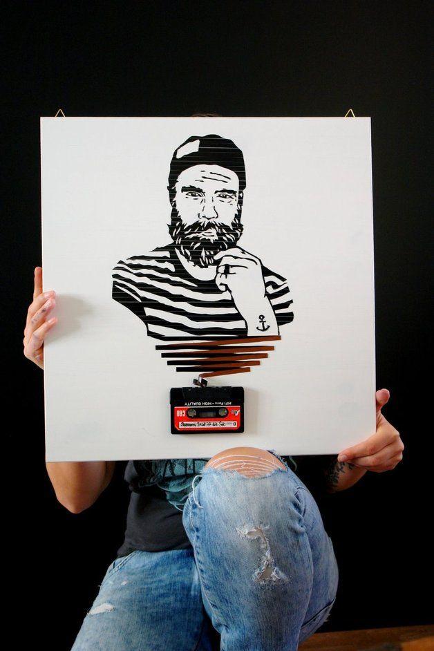 """Illustrationen - tapeart kassettenkunst """"seemann"""" - ein Designerstück von madeinosnabrueck bei DaWanda"""