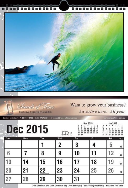 Keep your clients motivated during the week with a 'This Weekend' calendar from Sands Of Time. Each calendar not only features your business ad but also stunning images of outdoor adventures.