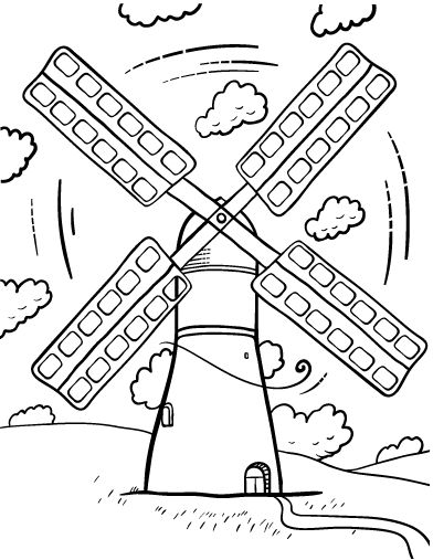 Free Windmill Coloring Page